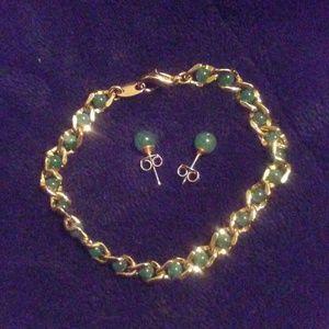Jade Bracelet&Earrings